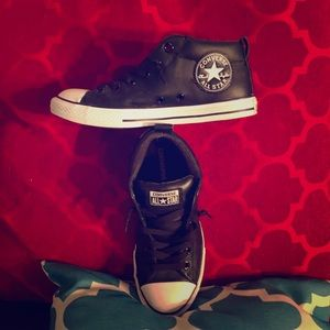 Converse All Stars-Black Leather-Great for Fall!